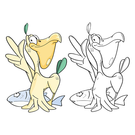 Illustration of cute Pelican and Big Fish cartoon character coloring book