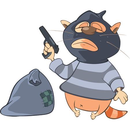 Illustration of a Cute Cat Gangster. Cartoon Character Illustration