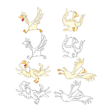 Set Cartoon Illustration. A Domestic Geese. Cartoon Character. Coloring Book