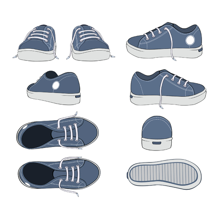 Illustration of a Complete Set of Sports Footwear Gym Shoes