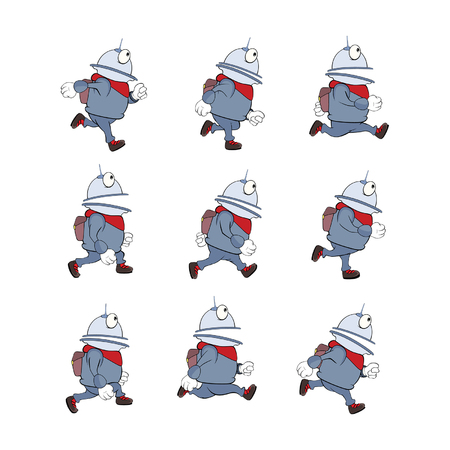 spacesuit: Cartoon character cute robot for a computer game. Set Illustration Illustration