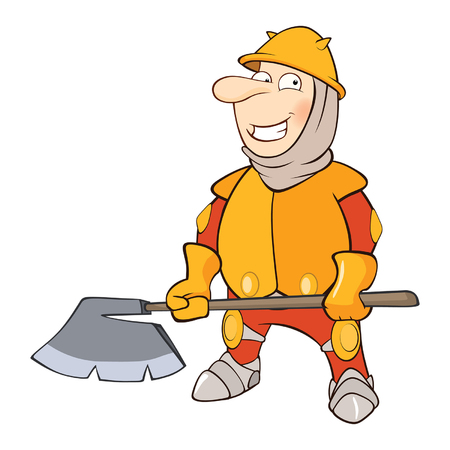 combatant: Illustration of a Cute Knight. Cartoon Character