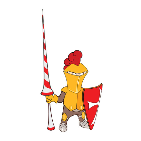 Illustration of a Cute Knight. Cartoon Character