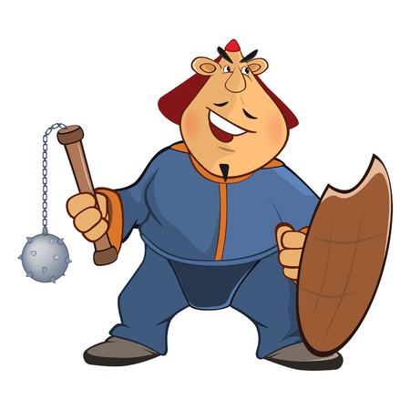 Illustration of a Soldier Mongol. Cartoon Character