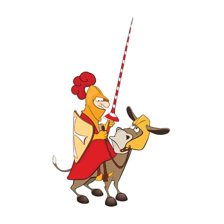 Illustratie van een Ridder en een Knight Ezel. Stripfiguur