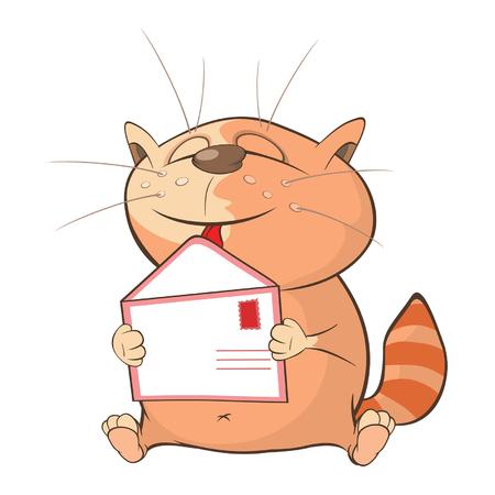 귀여운 고양이의 그림입니다. 만화 캐릭터. 일러스트