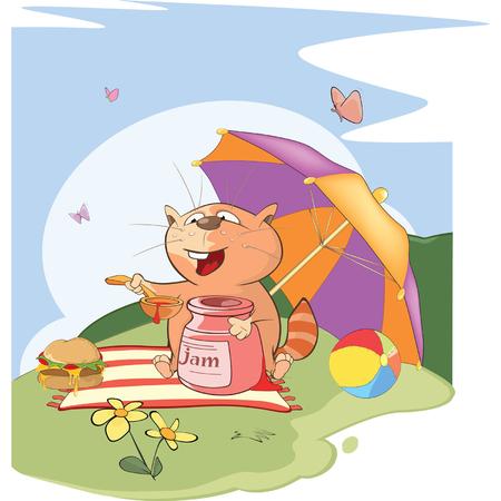Illustration of a Cute Cat. Summer Picnic Illustration