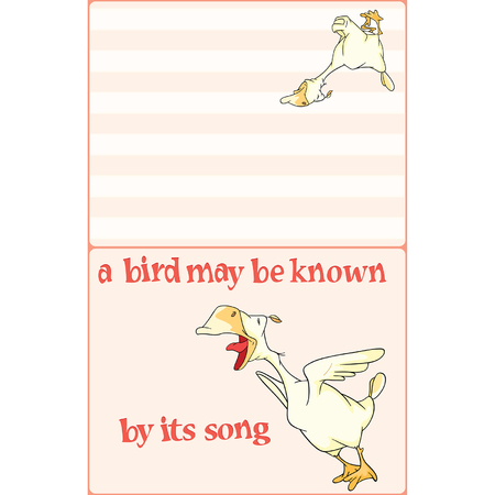 Illustration of a Domestic Geese. Postcard. Proverb Illustration
