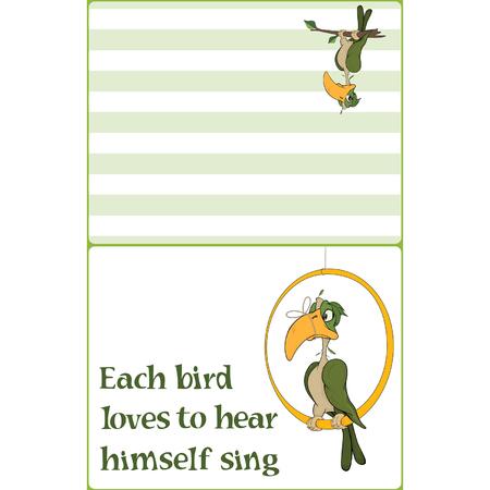 Illustratie van een papegaai met een vastgebonden bek. Adreskaartje.