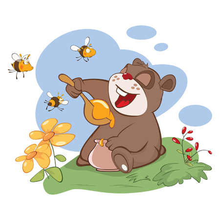 Illustration. Bear and the Bees Story