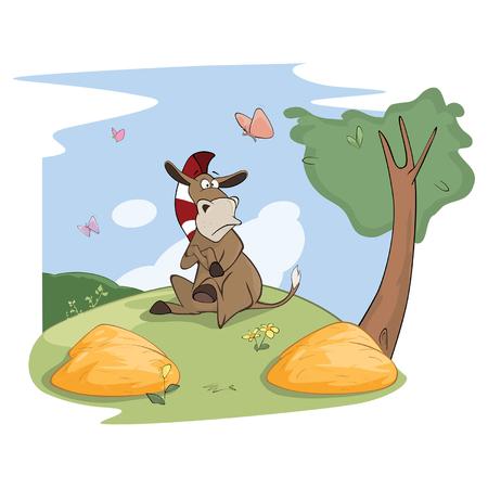 Ilustración de un pequeño Burro lindo. El culo de Buridan