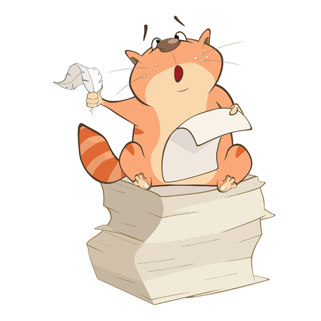 Illustration of a Cute Cat Writer. Cartoon Character