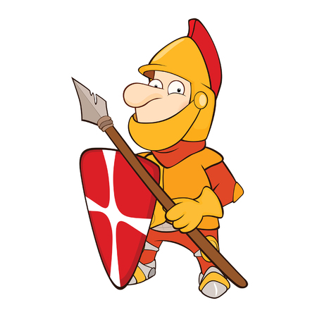 Illustration of a Cute Knight. Cartoon Character.