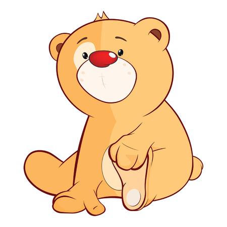 Illustration of a Stuffed Toy Bear Cub. Cartoon Character Illustration