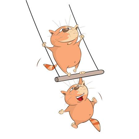 payasos caricatura: Ilustración de Cute Cats Acrobat. Personaje animado Vectores