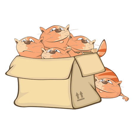 Illustration of Cute Cats and a Box. Cartoon Character Illustration