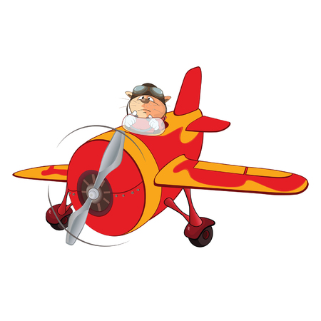 Illustration of a Cute Cat Aircraft Pilot and a Plane. Cartoon Character