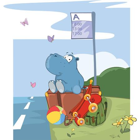 Illustration of a Cute Hippo Traveler. Cartoon Character Illusztráció