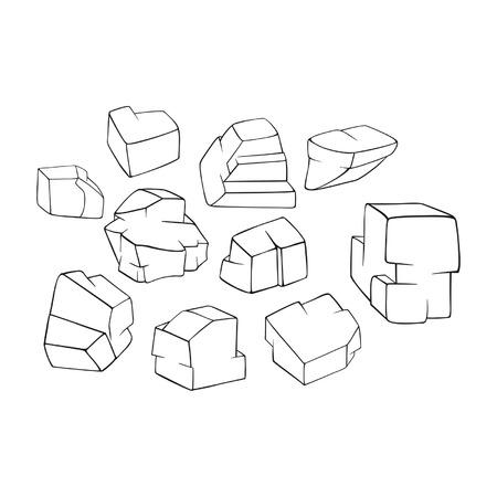 Stones coloring illustration. Ilustração