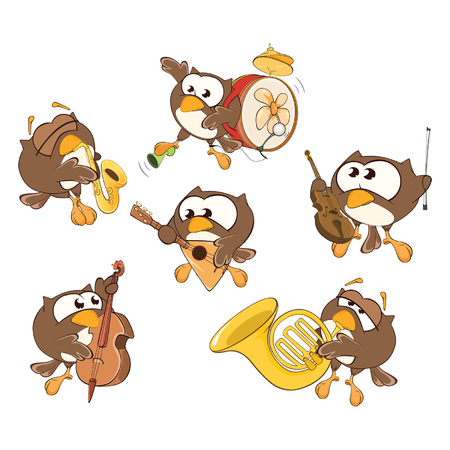 Owl  musician in different poses illustration.
