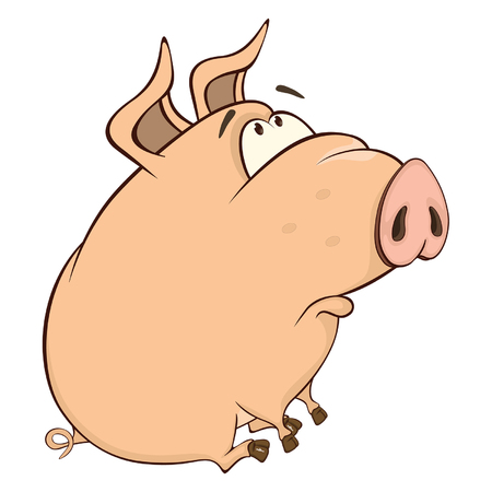 cute: Illustration of a Cute Pig