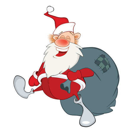 Cartoon Illustration of a Cute Santa Claus and a Sack Full of Gifts. Cartoon Character
