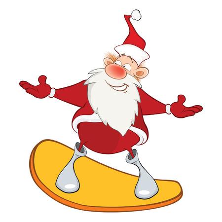 deportes caricatura: Illustration of a Cute Santa Claus and a Skateboard. Cartoon Character