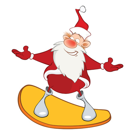 Illustration of a Cute Santa Claus and a Skateboard. Cartoon Character