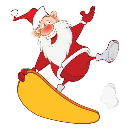 Illustration of a Cute Santa Claus and a Skateboard. Cartoon Character