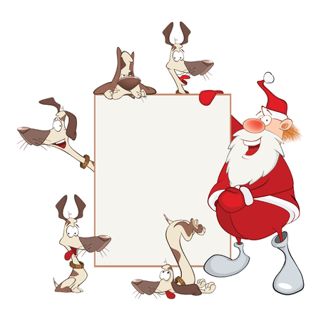 Illustration of Cute Santa Claus Holding Blank Board and Dogs. Cartoon Character
