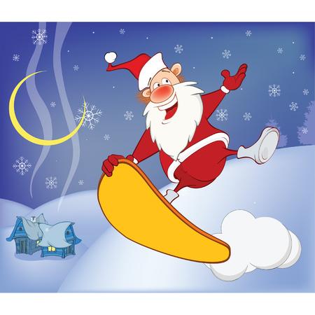 montañas caricatura: Illustration of a Skateboarding Santa New Years Adventure