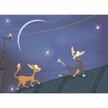 Illustration of Adventures. Two Cats on the Roof Illustration