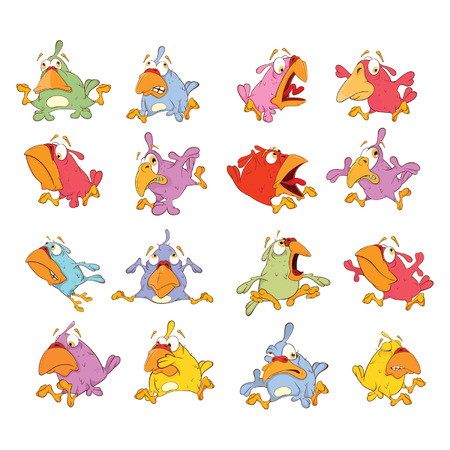 Set of Cute Birds in Different Poses for you Design. Cartoon Character Illustration