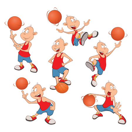 Illustration of Cute Little Boys. Basketball players