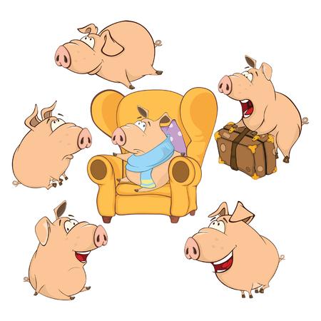 Set Cartoon Illustration. A Cute Pigs for you Design