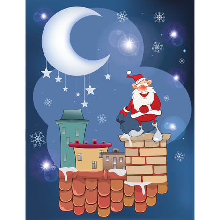 Illustration of the Cute Santa Claus Musician on the Roo