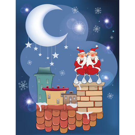 llustration of the Cute Santa Claus Musician on the Roo