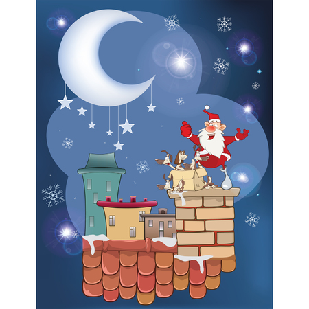 Illustration of the Cute Santa Claus and a Box of Puppies on the Roof Ilustração