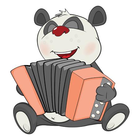 Illustration of a Cute Panda Accordionist. Cartoon Character