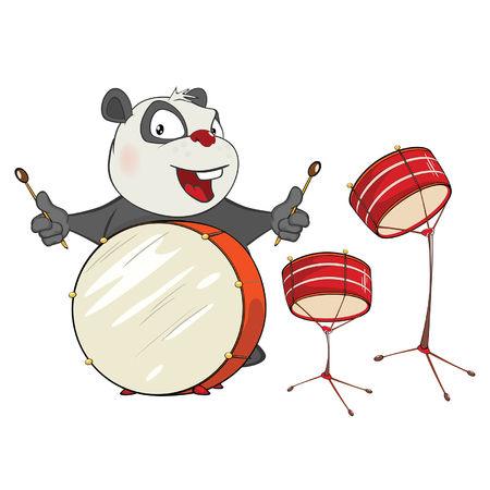 Illustration of a Cute Panda Drummer. Cartoon Character Illustration