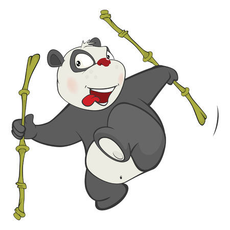 Illustration of a Cute Panda. Cartoon Character