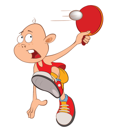 Illustration of Cute Little Boy. table tennis player