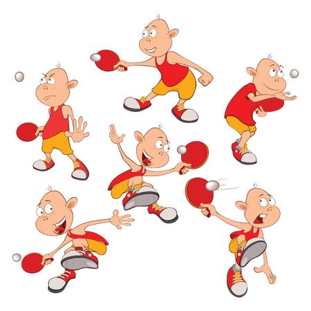 Illustration of Cute Little Boys. Table Tennis Vettoriali