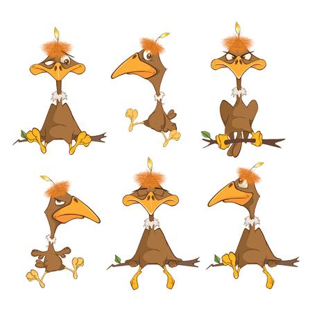 Set Cartoon Illustration. Cute American Condor. Cartoon Character