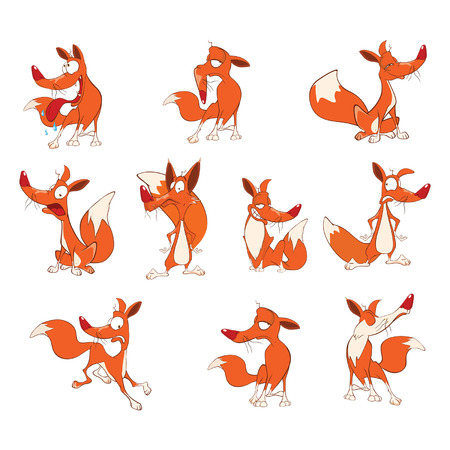 Illustration of a Set of Funny Foxes. Cartoon Cartoon Character Illustration