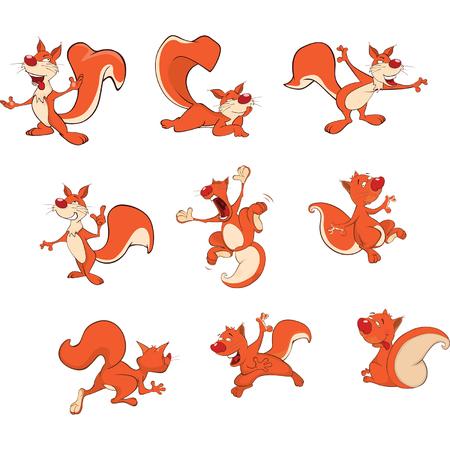 Illustration of Cute Squirrels Cartoon Character Illustration