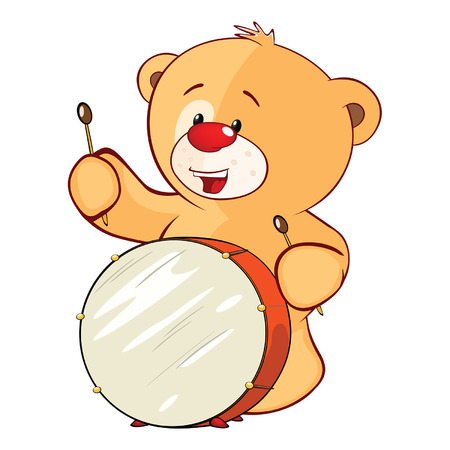 Illustration of a stuffed toy bear cub drummer.