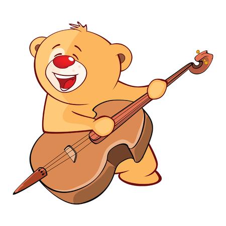 Illustration of a stuffed toy bear cub violinist jazz bassist.