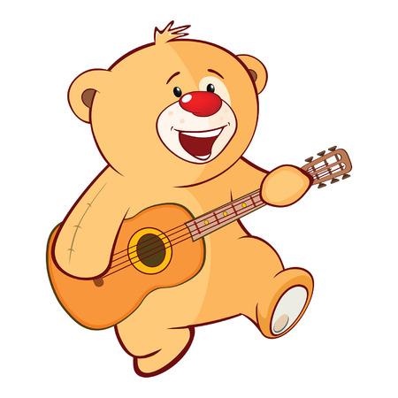 Illustration of a Stuffed Toy Bear Cub Guitarist. Stock Illustratie