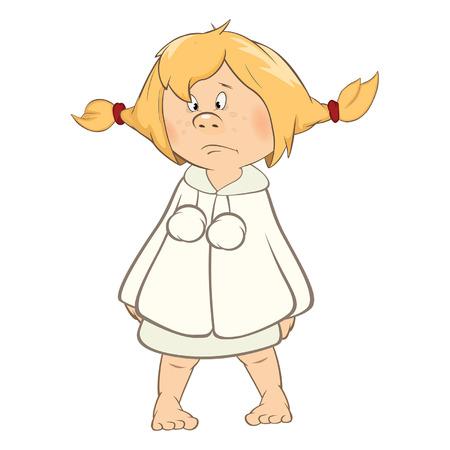 Illustration of a cute little girl cartoon character. 일러스트